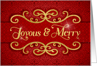 Joyous and Merry Red and Gold Holiday Elegance card