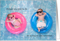 Twin Sister Birthday From Brother Cute Pool Babies Card
