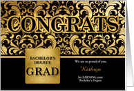 General Bachelor's Degree Grad in Faux Gold Foil Custom card
