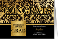 Bachelor of Arts Degree Grad in Faux Gold Foil Custom card