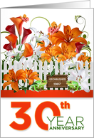 Custom 30th Wedding Anniversary Garden of Lilies card