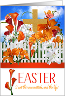 Easter Lily Garden with Gold Cross and John 11 Scripture card