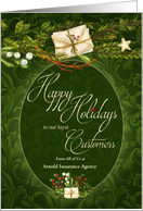 Old Fashioined Christmas Green and Cream Custom Business Holiday card