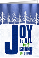 Joy to All Holiday Message of Peace in Blue and White card