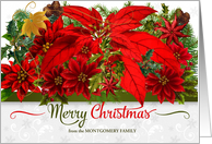 Merry Christmas Red Poinsettia Holiday Bouquet with Custom Name card