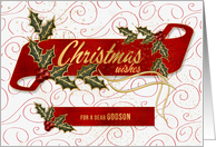 for Godson Christmas Wishes Holly and Berries card