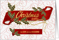 for Son and Husband Christmas Wishes Holly and Berries card