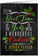 for Godson Best Time of the Year Christmas Chalkboard and Holly card