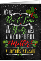 for Mother Best Time of the Year Christmas Chalkboard and Holly card