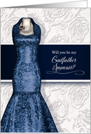 Godfather Sponsor Request Navy Blue Gown with White Roses card