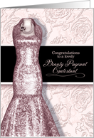 Beauty Pageant Contestant Blush Pink with Roses and Black card