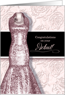 Debutante Congratulations in Blush Pink with Roses and Black card