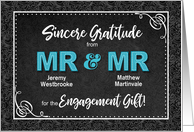 Engagement Gift Thank You Mr and Mr Black Damask Custom card