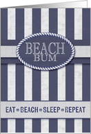 Beach Bum Birthday in Nautical Stripes of Denim Blue and White Wash card