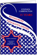 6 Star Badge Law Enforcement Retirement Congratulations card