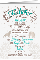 Father's Day Sentimental Typography for Dad Turquoise and Brown card