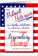 for Mom on Veterans Day Stars and Stripes Legendary Warriors card