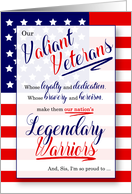 for Sister on Veterans Day Stars and Stripes Legendary Warriors card