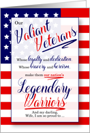 for Wife on Veterans Day Stars and Stripes Legendary Warriors card