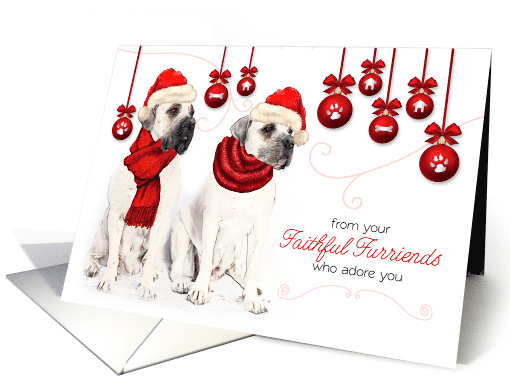 from the Pets Christmas Bordeaux Dogs with Red Hats and Ornaments card