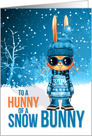 for Young Godson Cute Blue Christmas Hunny of a Snow Bunny card