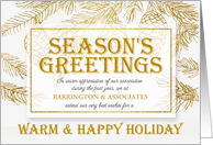 Business Season's Greetings in Gold and Winter White Custom card