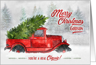 for Godson Vintage Classic Truck Christmas Watercolor card