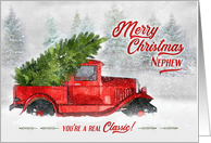 for Nephew Vintage Classic Truck Christmas Watercolor card