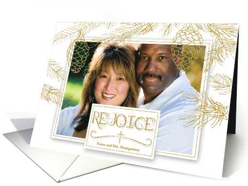 Gold Pines Christmas Photo with Rejoice and Christian Cross card