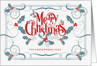 Merry Christmas Retro Themed Holly and Berries with Custom Text card