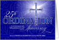 25th Ordination Anniversary Celebration Blue and Silver Cross Custom card