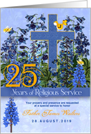 25 Years of Religious Service Celebration Larkspur Custom card