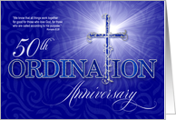 50th Ordination Anniversary Blue and Silver Christian Cross card