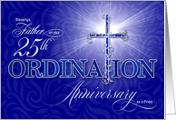 for Priest 25th Ordination Silver Anniversary Blue Christian Cross card