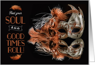 Mardi Gras Party Bronze and Platinum Carnival Mask card