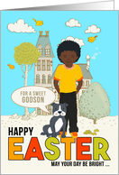 for Young Godson on Easter African American Boy with Dog card