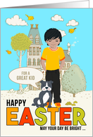 for Young Boy on Easter Asian American Child with Dog card