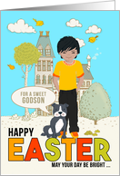 for Young Godson on Easter Asian American Boy with Dog card