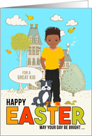 for Young Child Easter Latin American Boy with Puppy Dog card