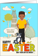 for Young Godson Easter Latin American Boy with Puppy Dog card