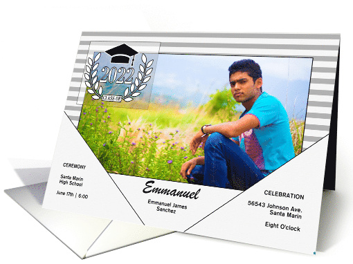 Graduation Announcement Modern Grayscale with Stripes Photo card