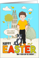 for a Young Godson on Easter Caucasian Boy with Dog card