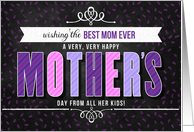 from All the Kids for Mom on Mother's Day in Purple Typography card