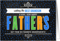 for Grandson from Grandparents on Father's Day Colorful Typography card