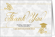 Education Themed Thank You Faux Gold Leaf on Silvery Damask card