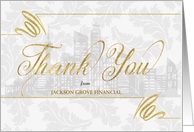 Financial Themed Business Thank You Faux Gold Leaf Custom Blank card
