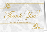 Real Estate Themed Business Thank You Faux Gold Leaf Custom card