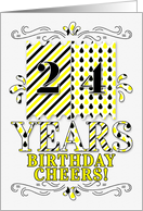 24th Birthday in Yellow and Black Stripes and Teardrop Patterns card