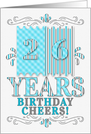 26th Birthday in Blue and Silver Stripes and Plaid Patterns card