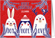 Christmas Winter Creatures Red Blue White Custom Recipient Name card